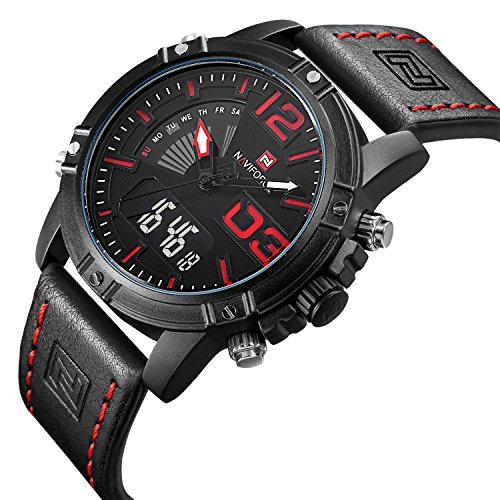 Tamlee Fashion Waterproof Digital Analog Men's Sport Watches with Leather Strap Alarm Chime hourly Backlight