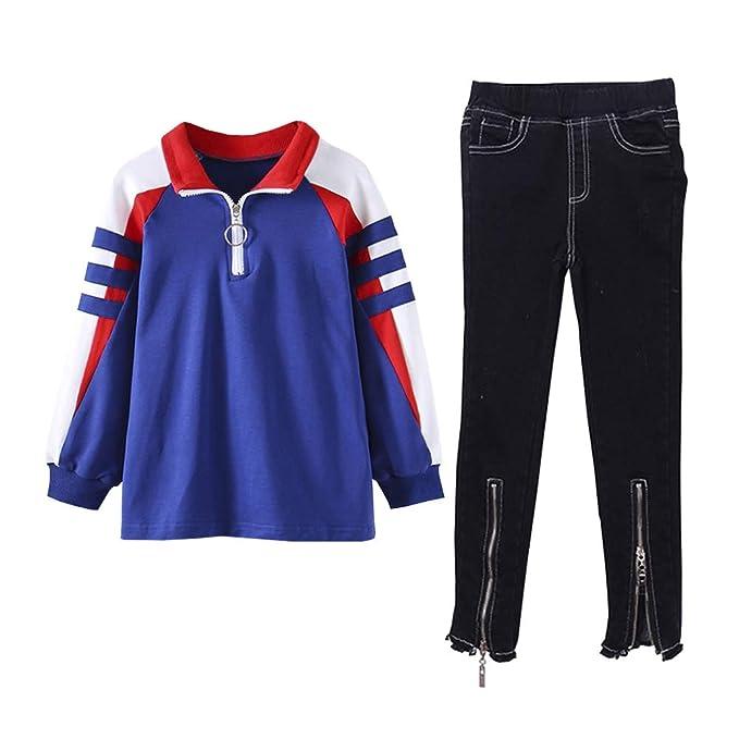 SXSHUN-Conjunto de Sudadera con Cremallera + Pantalones para Niñas ...