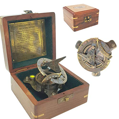 Brass Nautical - Antique Brass Sundial Compass in Rosewood Box Replica