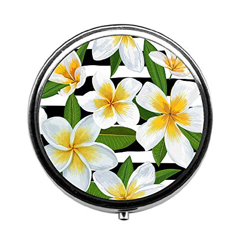 Pill Box 3 Times a Day,Tropical Seamless Pattern with Plumeria Flowers Travel Pill Case Round Pill Box with Mini Makeup Mirror Diameter 4.5 - Plumeria Clasp
