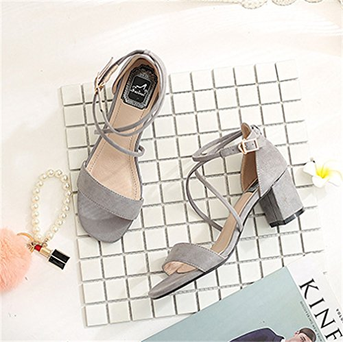 Sandals Women Toe Xianshu Peep Grey Buckle Block Toe Ankel Heel Pumps Cross Open High Strap FCUw0Cxq