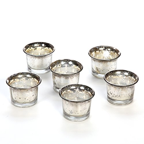 Set of 6 Hosley Metallic Silver Glass Candle/Tealight Holder with Free 6 Tealights. Ideal GIFT for Wedding, Bridal, Party, Votive, Tea Light Gardens
