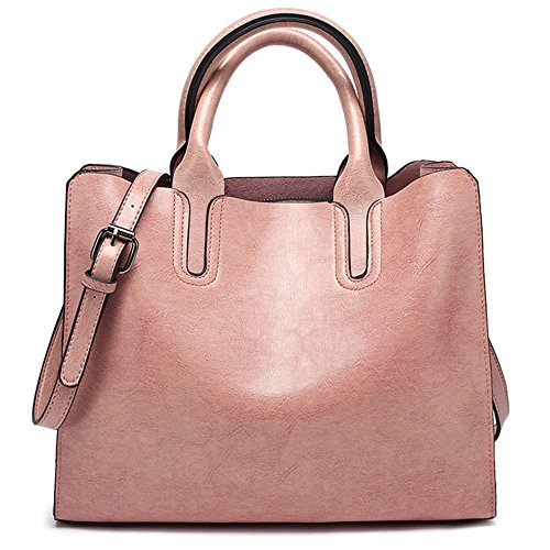 FiveloveTwo Womens Ladies Vintage Solid Color Handbags and Purses PU Leather Top-handle Satchel Hobo Crossbody Totes Shoulder Bags Pink -