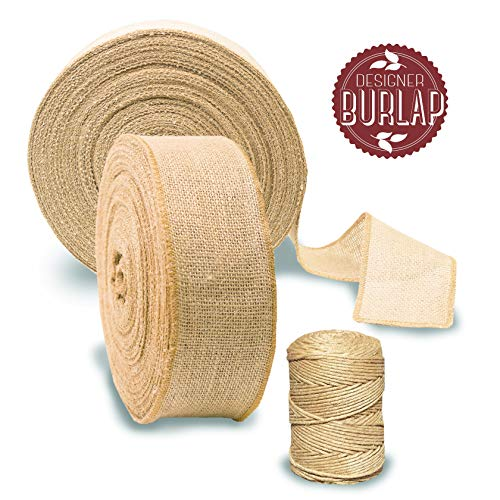 """Burlap Ribbon Roll 3"""" by 50 Yards with Bonus Twine