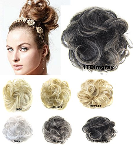 Scrunchie Peppers (Ladies Synthetic Wavy Curly or Messy Dish Hair Bun Extension Hairpiece Scrunchie Chignon Tray Ponytail #1TDimgray …)