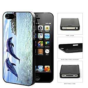 Dolphins Swimming In Ocean Island View Hard Plastic Snap On Cell Phone Case Apple iPhone 4 4s