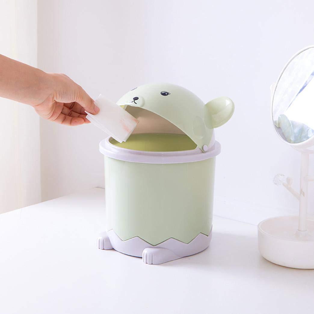YJYdada Desktop Flip Trash Can Cover Mini Portable Garbage Storage Bin (Green)