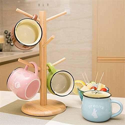 Strong Wood Mug Rack Holder Tree Coffee Cup Storage Stand Kitchen Organization by Agordo (Image #2)