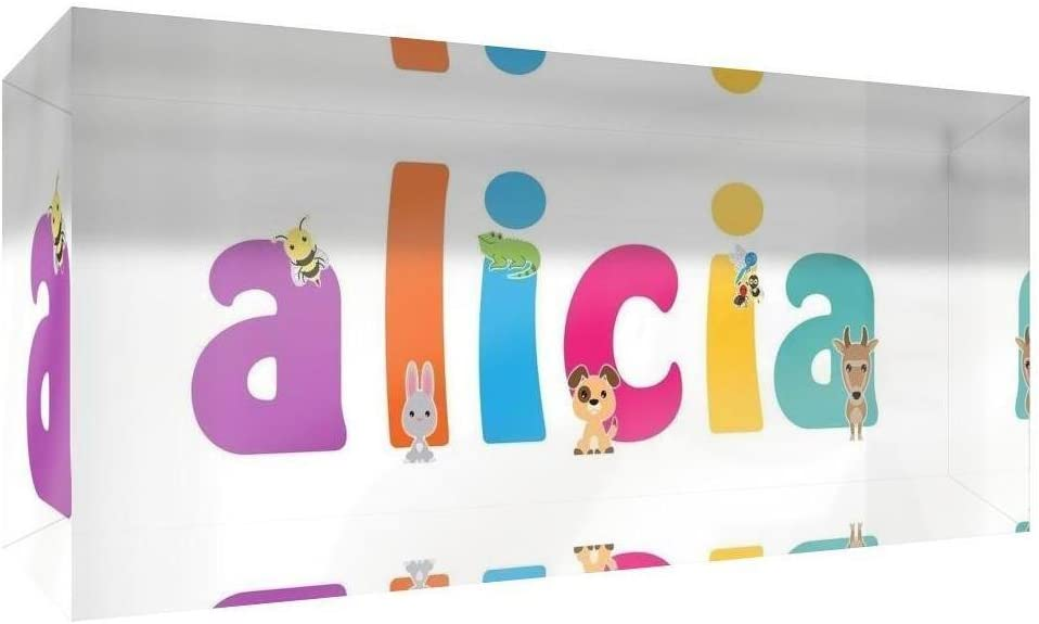 Little Helper Souvenir D/écoratif en Acrylique Transparent Poli comme Diamant Style Illustratif Color/é avec le Nom de Jeune Fille Alicia 5 x 15 x 2 cm Petit