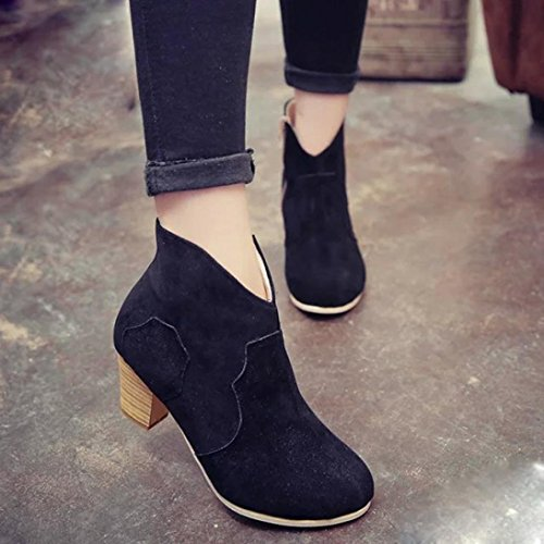 Botas Mujer,Ouneed ® Las mujeres de moda corto cilindro botas tacones botas tobillo Martin Negro