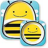 Skip Hop Melamin Geschirrset, Kinderteller und Breischale für Kinder, Biene Brooklyn, mehrfarbig