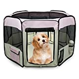 Jespet 61' Pet Dog Playpens, Portable Soft Dog Exercise Pen Kennel with Carry Bag for Puppy Cats Kittens Rabbits,Pink