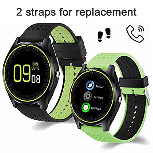 Qiufeng Smart Watch Smartwatch Bluetooth Sweatproof Phone with Camera TF/SIM Card Slot Band Replaceable for Android and iPhone Smartphones for Kids Girls Boys Men Women (Green,2 Straps)