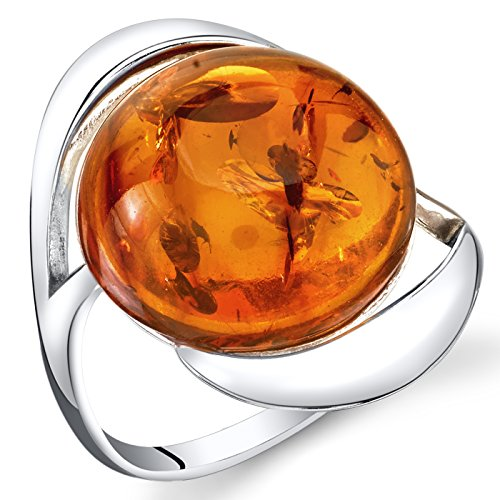 Baltic Amber Swirl Ring Sterling Silver Cognac Color Large Round Shape Size - Round Brown Amber And