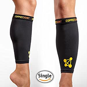 CopperJoint Calf Compression Sleeve, #1 Copper Infused Fit Support - GUARANTEED Recovery - Wear Anywhere - Small - Single