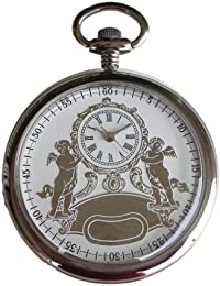 Polished Chrome Pocket Watch with Embossed 2-tone Silver Tone Antique Design Dial