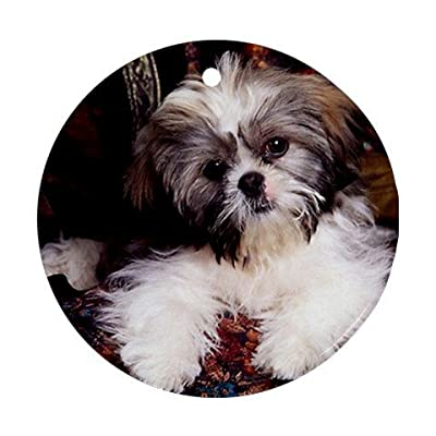 MYDply-Shih-tzu-puppy-Ornament-round-porcelain-Christmas-Great-Gift-Idea