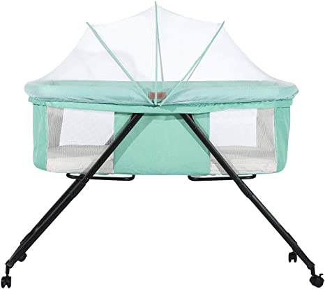 ,Blue Gray, Blue EBG Newborn Crib Foldable Multi-Functional Baby Simple Travel Cot Portable Splicing Bed Cradle Bed