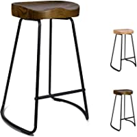 ALFORDSON 2 X Wooden Counter Bar Stools 65cm Dark Wooden Tractor Kitchen Vintage Stool Chairs