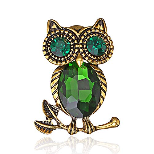 AILUOR Cute Black Eyed Owl Brooch Pin, Elegant Vintage Rhinestone Crystal Pearls Enamel Gold Animal Lapel Pin Corsage for Women Girl (Green)