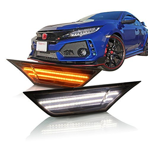 P.RA Compatible with 2016-2017 Honda Civic Type-R Smoked LED Front Side Marker Light - LED Turn Signal Housing Parking Light Replacement Lamp