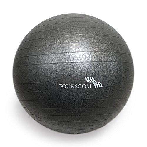FOURSCOM® Gymnastikball mit Pumpe 55CM Berstsicher Fitnessball Yoga Ball Grau