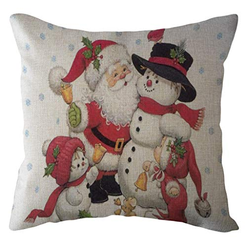 Littay The Best Gift Santa Claus Pillow Case Linen Sofa Throw Cushion Cover Home Decor 17.72