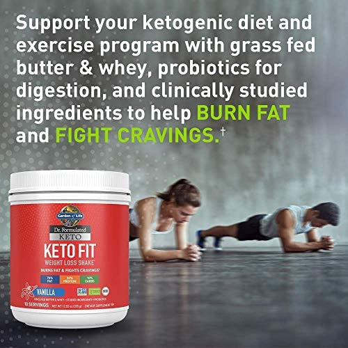 Garden of Life Dr. Formulated Keto Fit Weight Loss Shake - Vanilla Powder, 10 Servings, Truly Grass Fed Butter & Whey Protein, Studied Ingredients & Probiotics, Non-GMO, Gluten Free, Ketogenic, Paleo 3
