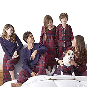 SESY Family Pajamas Sets Matching Classical Red Plaid Loungewear Button Front Blouse & Trousers Holiday Suits (Dog's, Large)