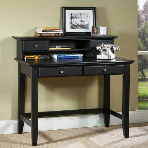 Home Styles Bedford Black Student Desk and Hutch with Hardwood Solids, Two Utility Drawers, Brushed Satin Chrome Hardware, Open Storage Area, Wire Management, and Black Finish