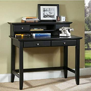 Amazon Com Home Styles Bedford Black Student Desk And Hutch With Hardwood Solids Two Utility Drawers Brushed Satin Chrome Hardware Open Storage Area Wire Management And Black Finish Furniture Decor
