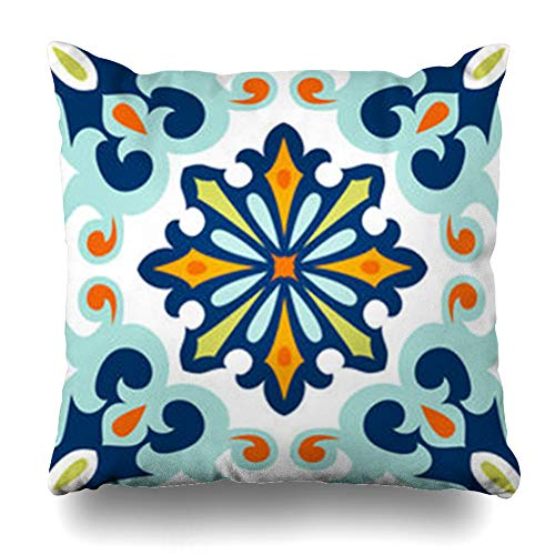 (ArtsDecor Throw Pillow Covers Portuguese Blue Ceramic Oriental Mediterranean Floral Exterior Floor Flower Tile Home Decor Cushion Square Size 16