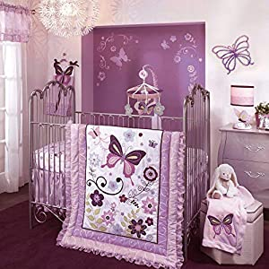 Lambs & Ivy Butterfly Lane Purple/White 5Piece Baby Crib Bedding Set