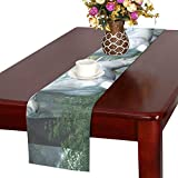 MOVTBA Unicorn Elm Forest Two White Unicorns Prance THR Table Runner, Kitchen Dining Table Runner 16 X 72 Inch for Dinner Parties, Events, Decor
