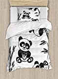 Ambesonne Arrow Duvet Cover Set Twin Size, Cheerful Panda Different Poses with Bamboo Branch Children Painting Art Print, Decorative 2 Piece Bedding Set with 1 Pillow Sham, Black White