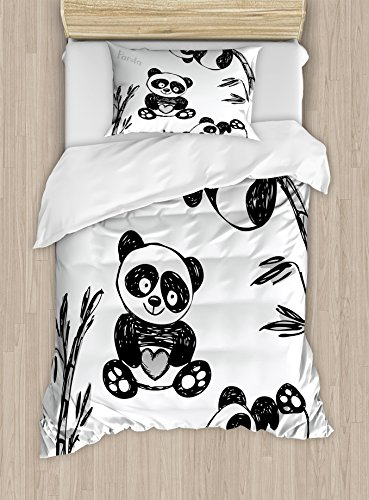Bedroom Bamboo Bedroom Set (Ambesonne Arrow Duvet Cover Set Twin Size, Cheerful Panda Different Poses with Bamboo Branch Children Painting Art Print, Decorative 2 Piece Bedding Set with 1 Pillow Sham, Black White)