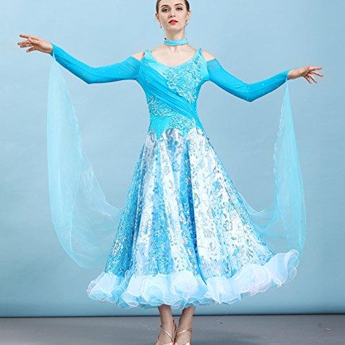Robe La De Paillettes Toute Compétition Blue Wqwlf À Longues Costumes Danse Féminine Manches Longueur s Moderne WEDH92I