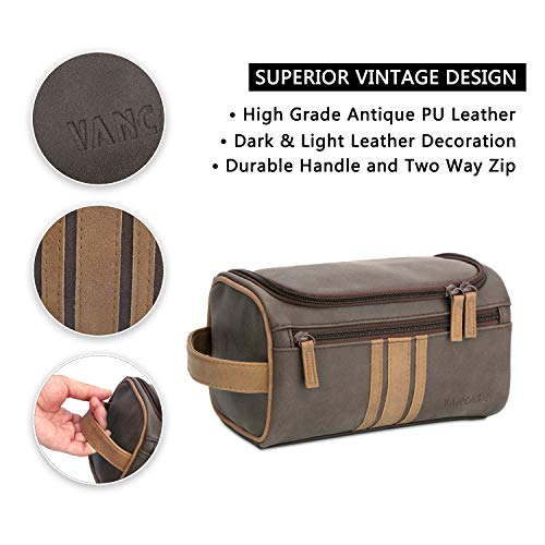 13a43028b278 Vancase Toiletry Bag for Men Vintage Leather Dopp Kit Hanging Shaving Bag  Portable Bathroom Shower Organizer for Travel Accessories (Brown)