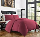 Zen Bamboo Ultra Soft 3-Piece Bamboo Derived Rayon Duvet Cover Set - Hypoallergenic and Wrinkle Resistant - Full/Queen - Burgundy