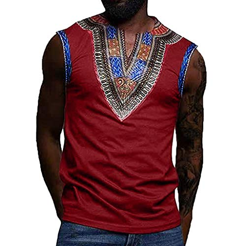 iYYVV Fashion African Mens Nationality Printed Slim Fit Sleeveless V-Neck Tank Tops (Sweater Dog Ut)