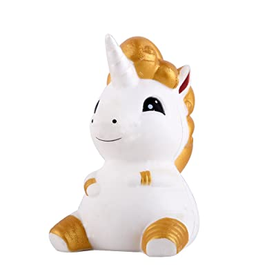 "Anboor 4.7"" Squishies Unicorn Horse Kawaii Soft Slow Rising Scented Animal Squishies Stress Relief Kids Toy Golden"
