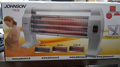 Johnson Trix - Estufa eléctrica de cuarzo con 3 elementos de potencia 400/800/1200 W