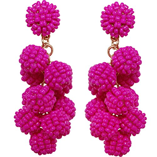 Ny Fashion (Humble Chic Candy Berry Cluster Dangles Beaded Ball Drop Statement Tassel Earrings, Candy Berries - Fuchsia, Hot Pink)