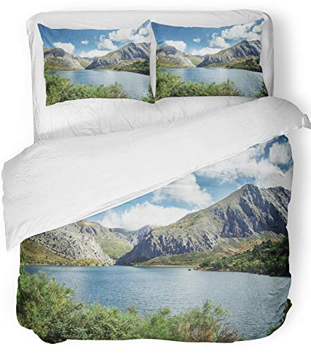 Emvency Bedsure Duvet Cover Set Closure Printed Decorative Mountains and Lake Summer Landscape of Barrios De Luna Reservoir in Leon Spain Breathable Bedding Set With 2 Pillow Shams Twin Size by Emvency