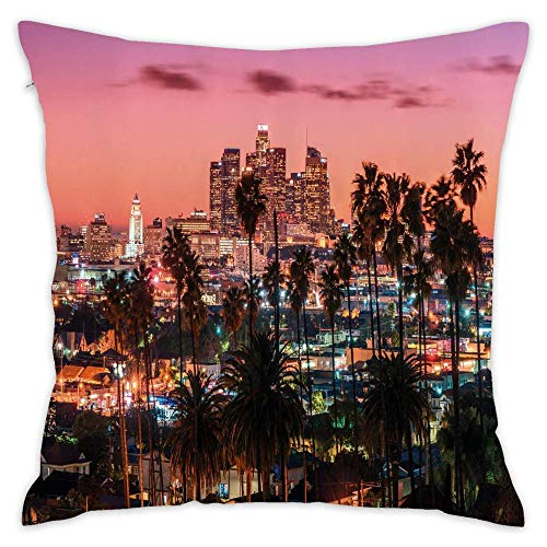 Podas Big United States Vibrant Sunset Twilight Scenery Los Angeles Famous Downtown with Palm Trees Decorative Pillow Case Throw Pillows Covers for Couch/Bed 18 X 18 Inch Home -