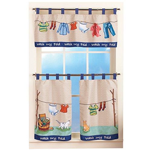 Colorful Laundry Washday Curtain Set