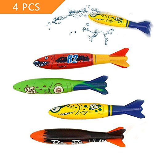 Koogel Diving Toys  4 Pcs Colorful Dive Torpedoes For Pool Use Gliding Shark Throwing Torpedo Underwater