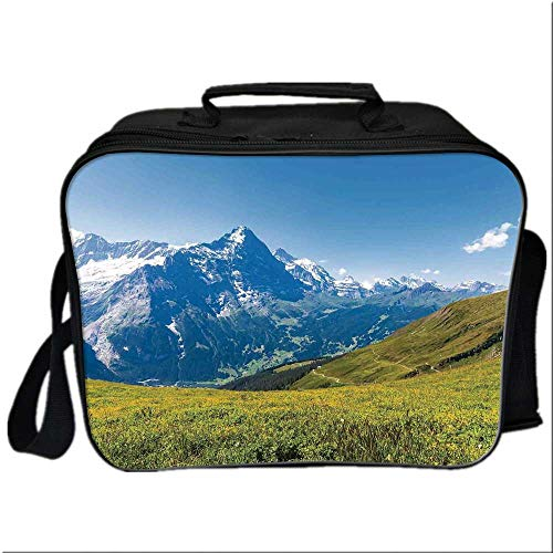 """Nature Lunch Box Portable Bag,Peaks of Swiss Alps in Sunny Summer Day Flowers Valley Nothern Rural Print Deco Decorative for Kids Boys Girls,10.6""""Lx4.7""""Wx8.2""""H"""
