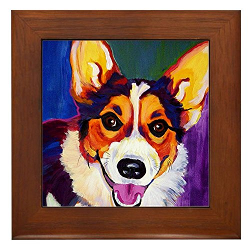 CafePress - Corgi #1 - Framed Tile, Decorative Tile Wall Hanging ()