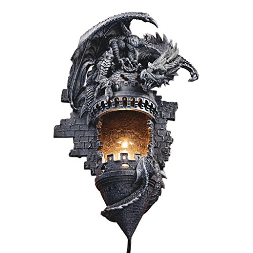 Design Toscano Dragon's Castle Lair Electric Wall Sconce Light Fixture, 15 Inch, Polyresin, Grey Stone